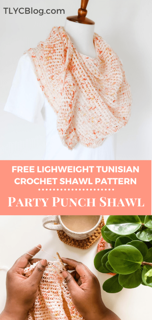 Make the Party Punch Shawl, a Tunisian crochet triangle wrap made with one skein of fingering weight yarn. Beginner friendly with tutorial video, fun summer wrap crochet pattern. | TLYCBlog.com