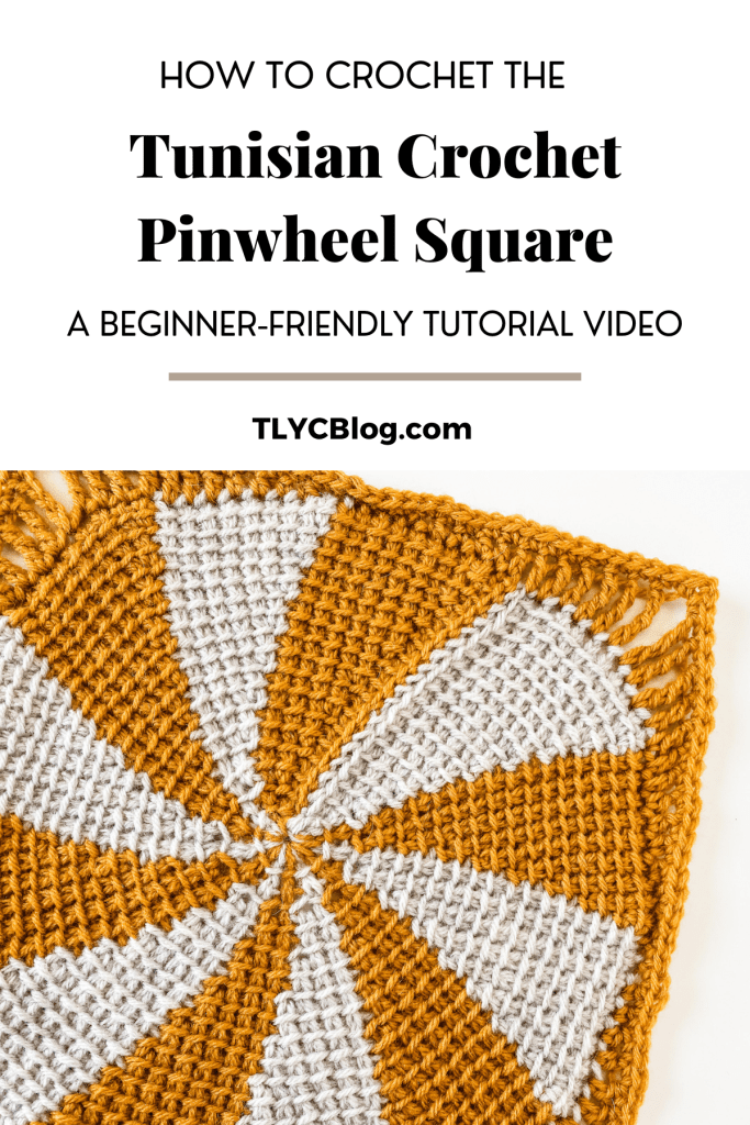 Tunisian crochet pinwheel square | Free written pattern and tutorial video for Tunisian crochet beginner learn how to crochet the Tunisian crochet arrowhead stitch | TLYCBlog.com