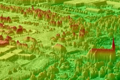 Three dimensional color shaded relief (CSR) perspective view of high resolution LIDAR