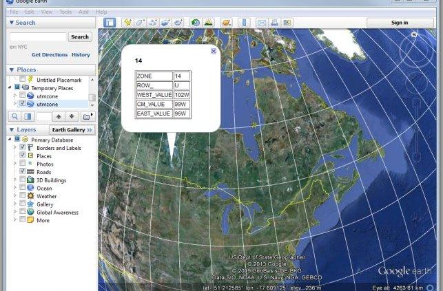 UTM zones in Google Earth