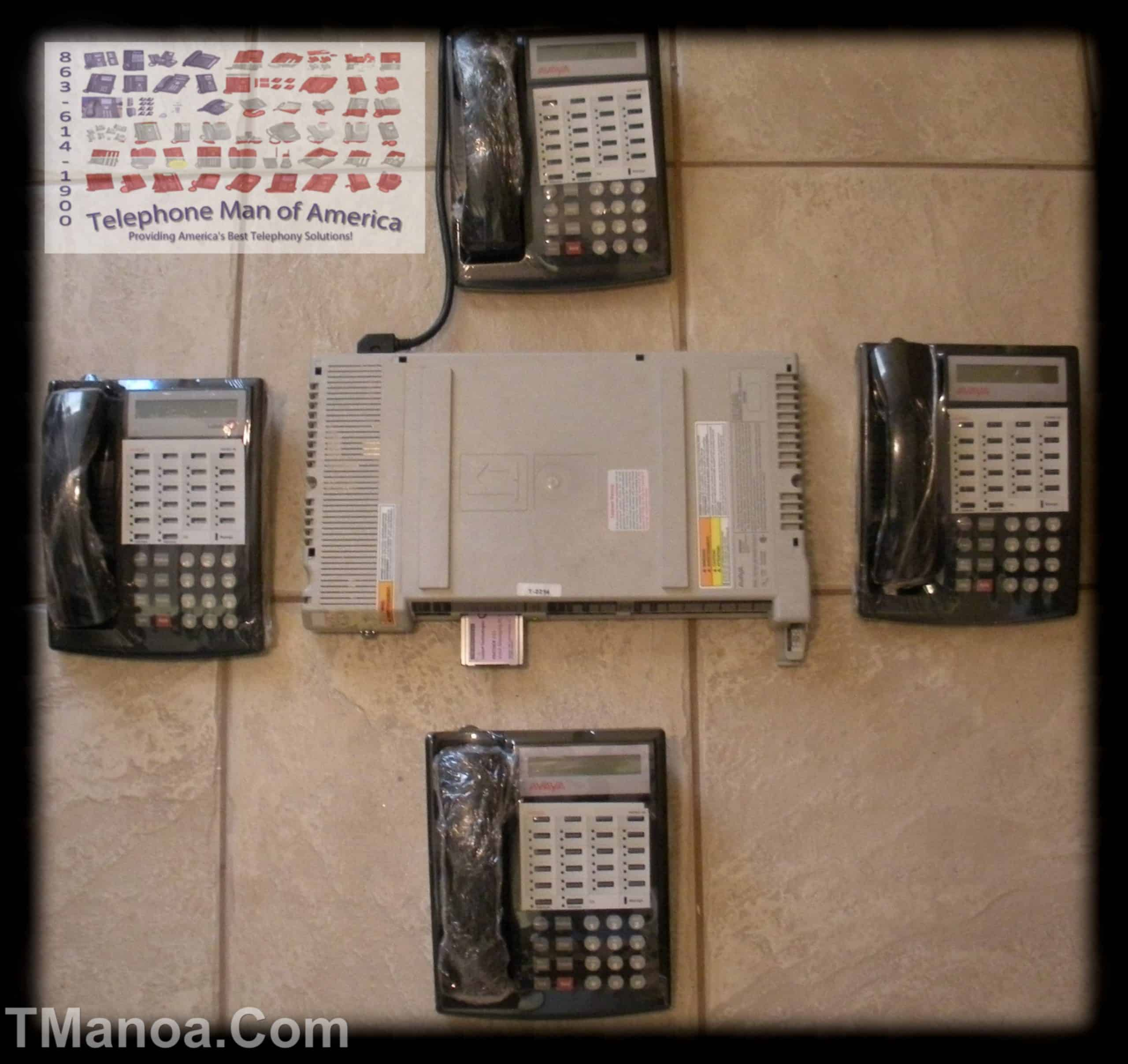Avaya Partner ACS Business Phone System with Voice mail and 4 Partner 18D Series 1 Black Phones