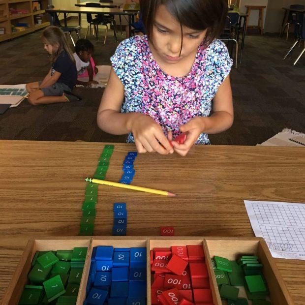 Stamp Game, Montessori Private School, Arlington TX