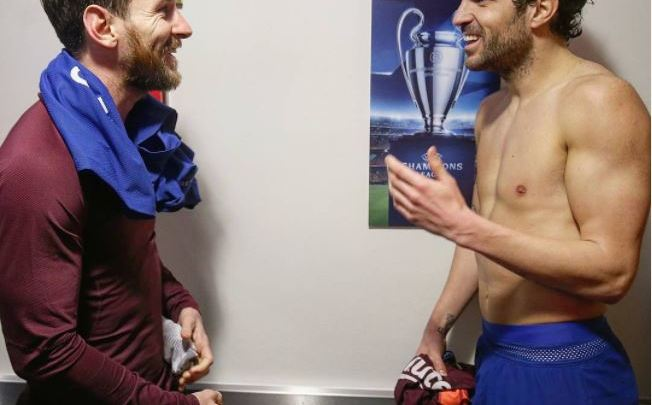 See How Fabregas And Messi Greeted Each Other After Chelsea Vs Barcelona Game (Photos)