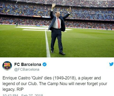 Football World Mourns As Ex-Barcelona And Spain Striker Castro a.k.a 'The Wizard' Dies