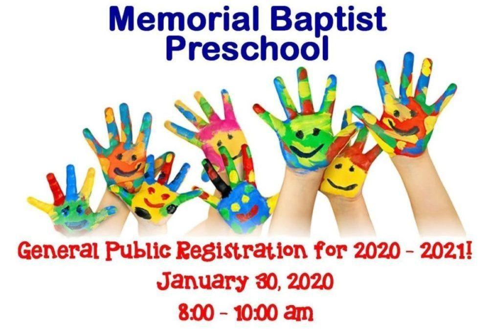 2020 Preschool Registration