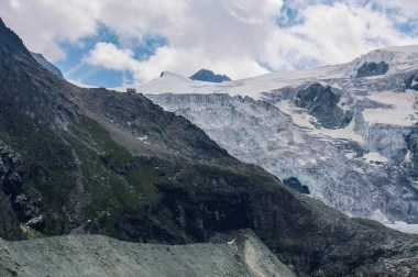 The dramatic Cabane de Moiry perched next to the Moiry Glacier.