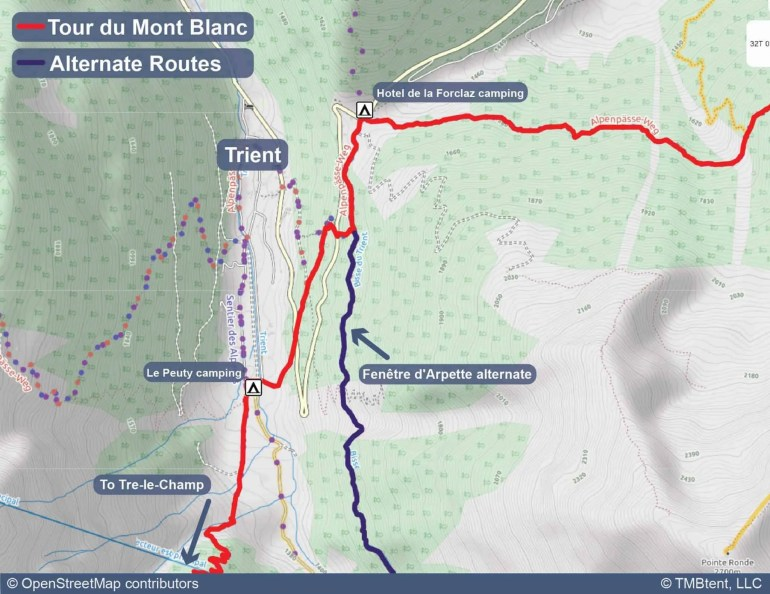 Map of camping options at Col de la Forclaz and Le Peuty