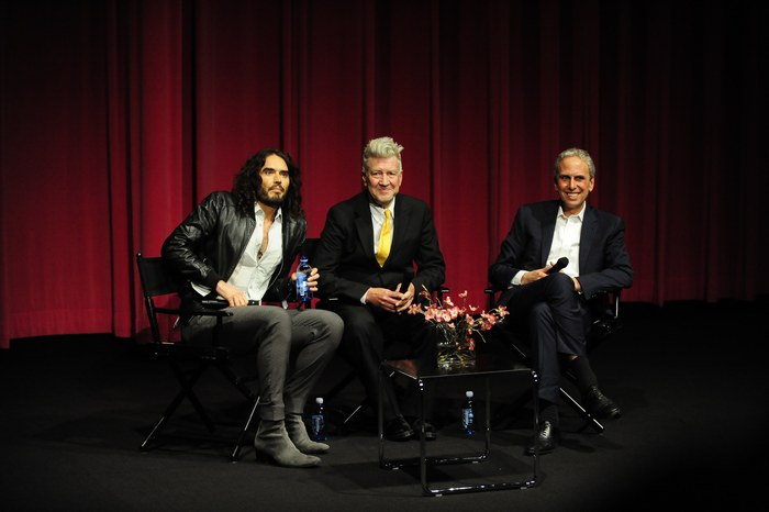 From left to right: Russell Brand, David Lynch, Bob Roth