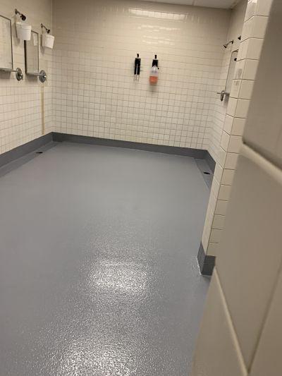 Waterproofing Locker Room Floors by TMI Coatings, Inc.