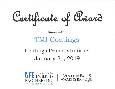 Certificate Of Award 2019 To TMI Coatings