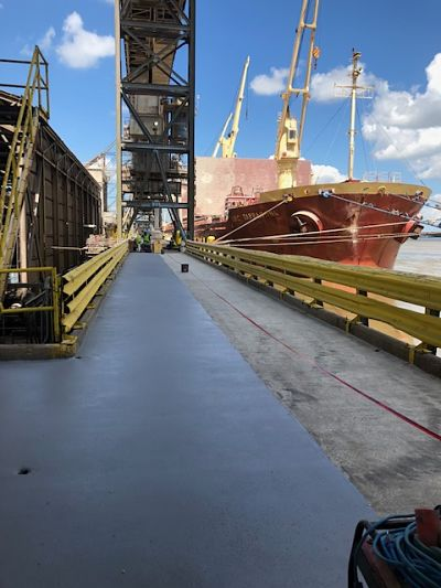 Cementitious Urethane Topping On Loading Dock Along Mississippi River
