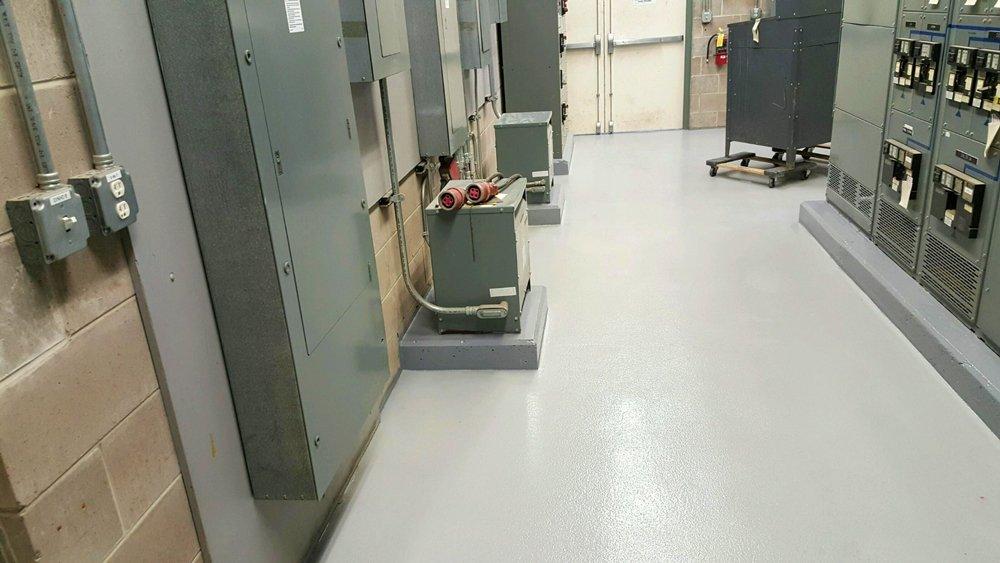 TMI Coatings Concrete Floor Restoration Mechanical Room Hospital