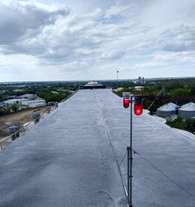 Photo of TMI Coatings Concrete Silo Roofs Coated to Withstand Ponding Water