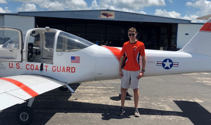Picture of Jack Basil, a rising junior at TMI, celebrating his first solo flight, completed July 2 at New Braunfels Regional Airport.
