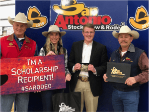 Photo of TMI Senior Trent Wisian and the San Antonio Livestock Show and Rodeo Horse Judging Committee members
