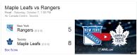 Game 2: Toronto Maple Leafs vs New York Rangers