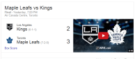 Game 9: Toronto Maple Leafs VS Los Angeles Kings