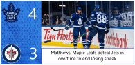 Game 28: Winnipeg Jets 3 – 4 Toronto Maple Leafs