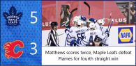 Game 39: Toronto Maple Leafs 5 – 3 Calgary Flames