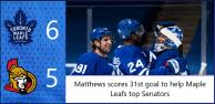 Game 41: Ottawa Senators 5 – 6 Toronto Maple Leafs
