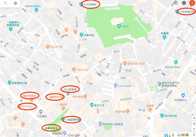 澳門舊城區地圖