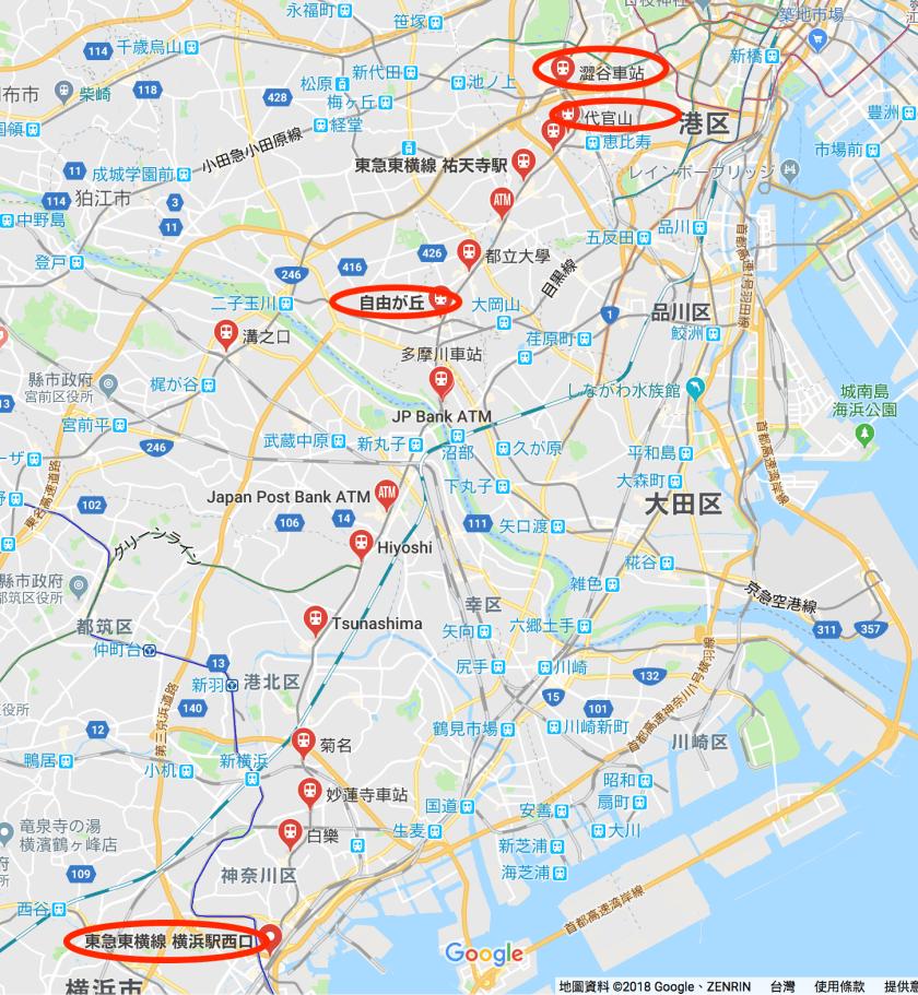 東急東橫線地圖
