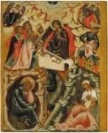 The Nativity of Jesus Christ, from the Feasts tier, ca. 1670. Tempera on wooden panel. 73.6 x 59.8 x 3.8 cm. Yaroslavl Art Museum, Yaroslavl, Russia.