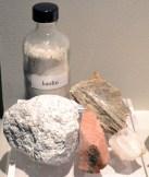 Early Chinese hard-paste recipe: kaolin, feldspar (pink), mica (golden) and quartz