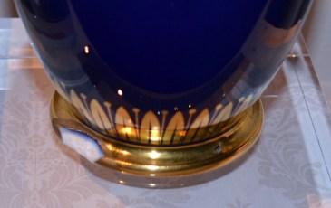 Soft paste porcelain, overglaze cobalt blue