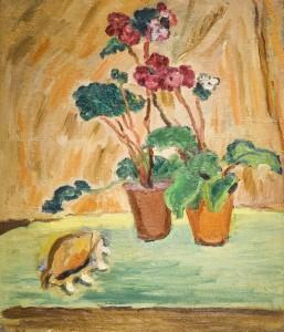 Aleksandr-Isaakovich-Rusakov-Still-Life-Flowers-and-a-Shell-1947-49-Oil-on-Canvas-257x300