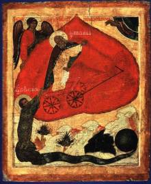 Fiery ascension of prophet Elijah, Novgorod School