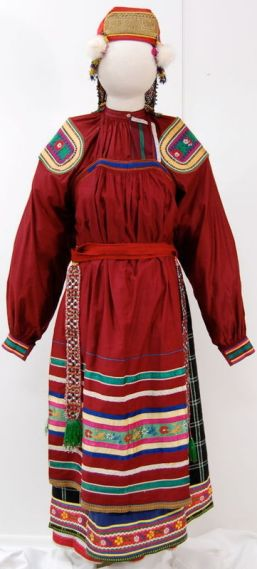 Peasant Woman's Dress (Sarafan and Shirt), Early-mid 19th century. Vologda region, Russia; Shirt: Northern Dvina River Basin, Sarafan: Tarnoga. Private Collection of Susan Johnson. See item description for specific details.