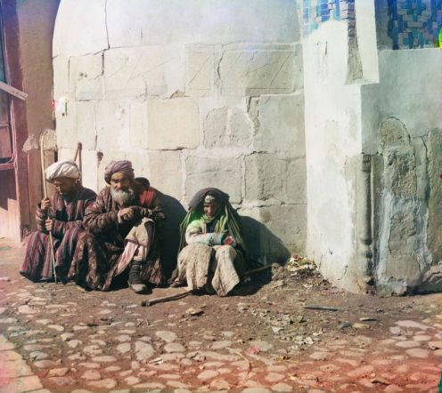 Prokudin-Gorskii, Sergei Mikhailovich. Beggars, 1906-1911. 1 negative (3 frames) : glass, b&w, three-color separation. Library of Congress, Prokudin-Gorskii Collection.
