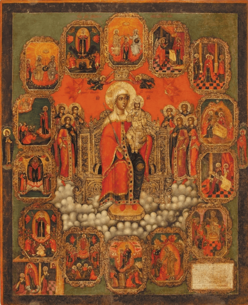 The Mother of God Enthroned, with marginal scenes, 18th century. Tempera on wooden panel. 62 x 51 cm. Yaroslavl Art Museum, Yaroslavl, Russia.
