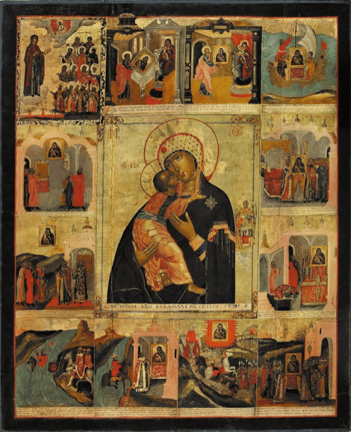 The Mother of God of Vladimir, Late 18th century. Tempera on wooden panel. 102 x 83 cm. Yaroslavl Art Museum, Yaroslavl, Russia.