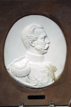 "Bisque Bas-relief Portrait of Alexander II, Winter Palace, Neoclassical Style, 1860. Hard paste porcelain. 13"" x 11 1/4"" (Frame), 9 1/4"" (Plaque). Raymond F. Piper Collection."