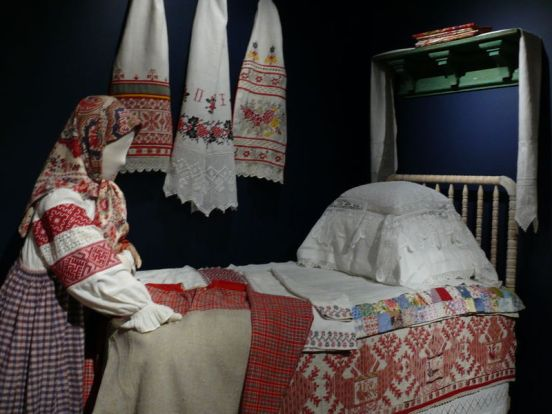 Bed, late 19th-early 20th century. Vologda region, Russia. Private Collection of Susan Johnson. Cloth, thread.