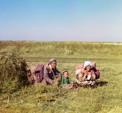 Prokudin-Gorskii, Sergei Mikhailovich. Nomadic Kyrgyz, 1906-1911. 1 negative (3 frames) : glass, b&w, three-color separation. Library of Congress, Prokudin-Gorskii Collection.
