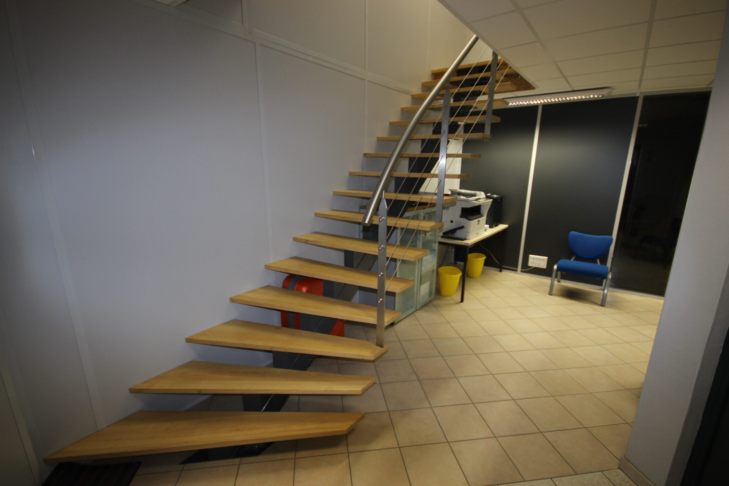 escalier bois metal inox