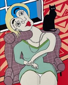 Chat percher - originale - peinture néo expressionnisme - tmpx
