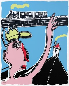 J entends siffler le train - originale - copie - peinture néo expressionnisme - tmpx