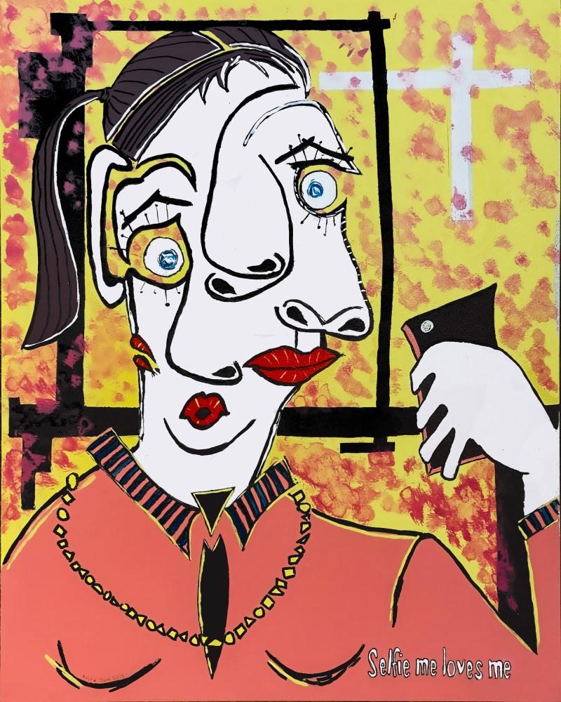 Selfie moi m'aime - copie - peinture néo expressionnisme - tmpx