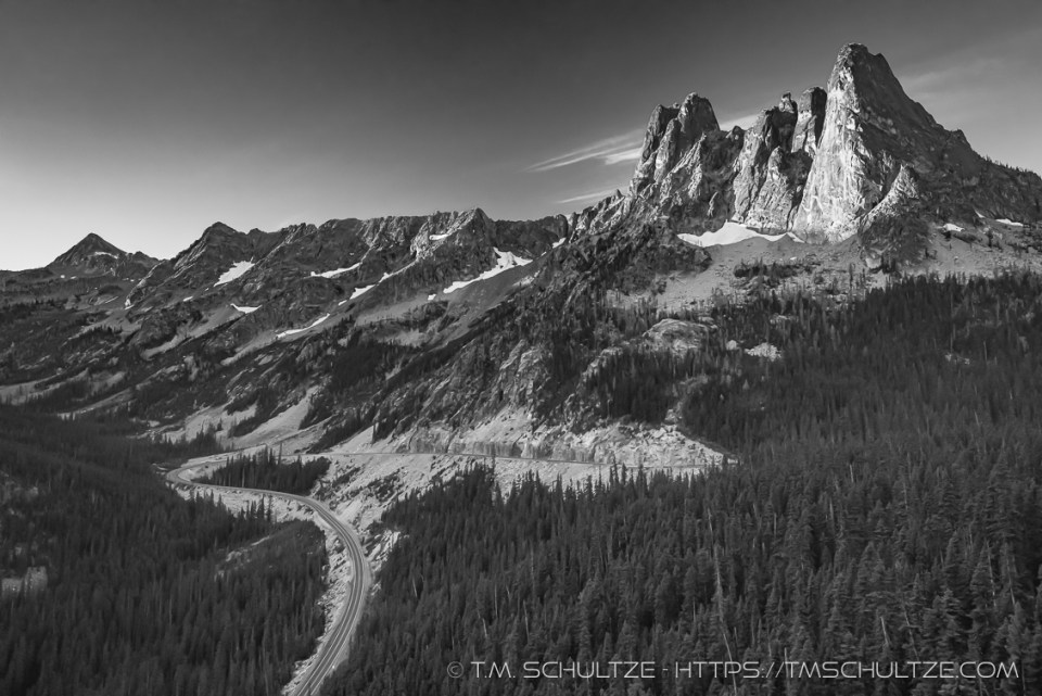 Washington Pass North Cascades Black and White by T.M. Schultze