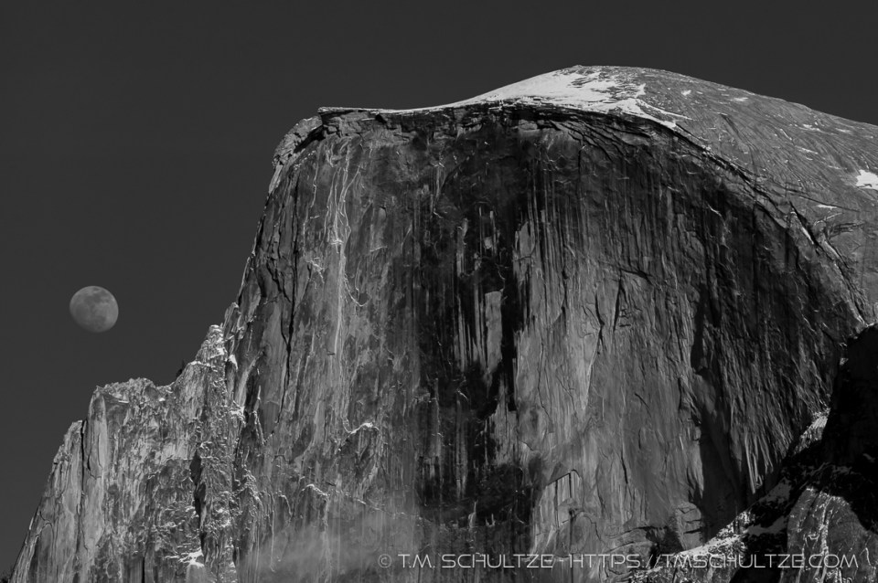 Moon and Half Dome by T.M. Schultze