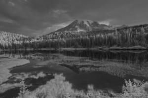 infrared images, reflection lakes, mt rainier national park, washington