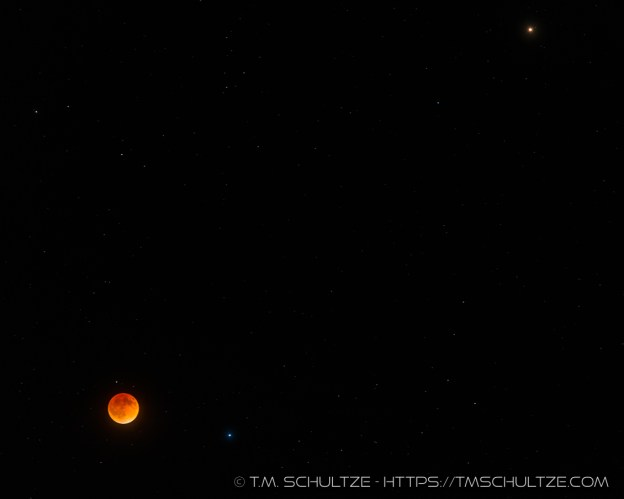 Lunar Eclipse, Spica, and Mars by T.M. Schultze