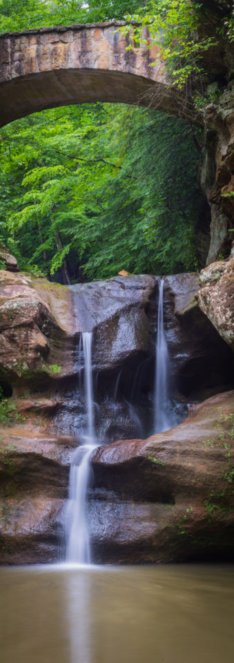 Old Man's Cave Waterfall Panorama by T.M. Schultze