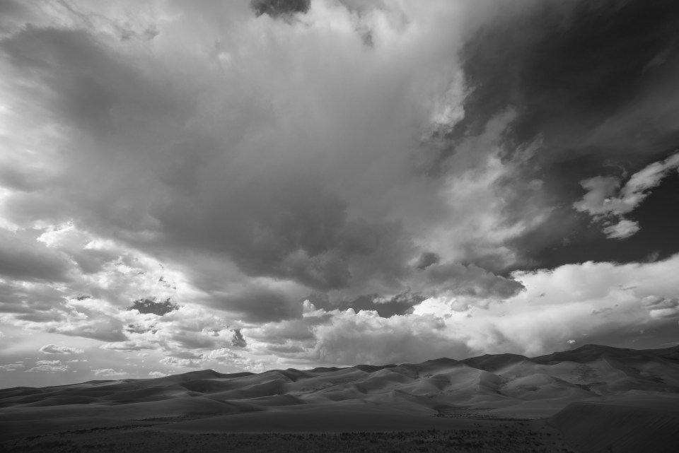 Great Sand Dunes Storm Landscape, Black and White, by T.M. Schultze