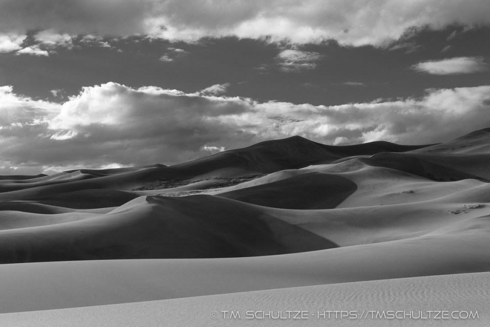 Sand Dunes to Clouds, Black and White, by T.M. Schultze