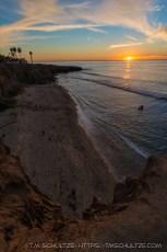 No Surf Beach With Setting Sun